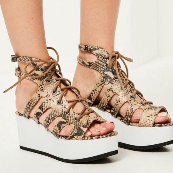2aee110ed67a Nude Snake Print Lace Up Flatform Sandals